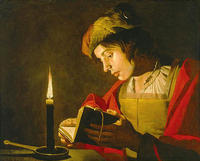 Matthias stom young man reading by candlelight